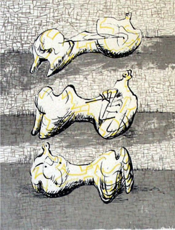 Henry Moore Three Reclining Figures by HouseofStowFineArts, $250.00