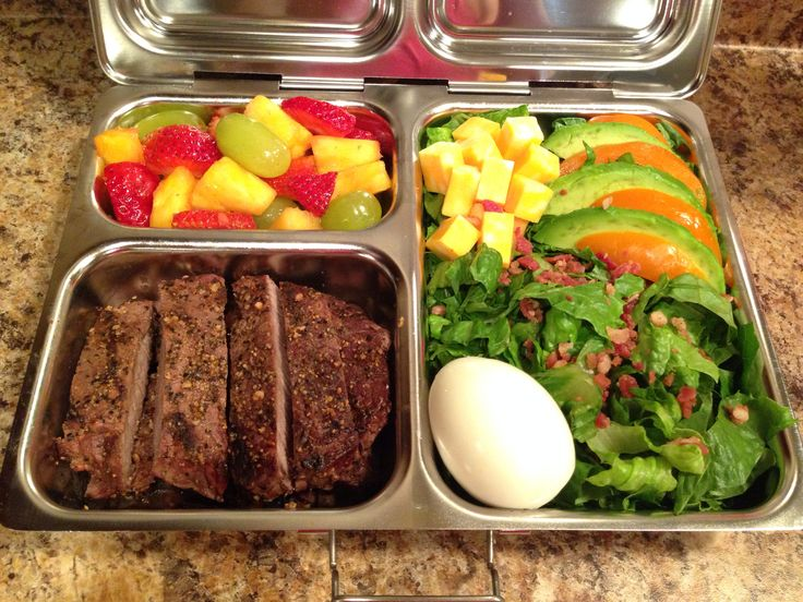 PlanetBox Launch Lunch for my 17 year old football player:  Steak, salad, boiled egg, cheese cubes, avacado, bell pepper, fruit salad.