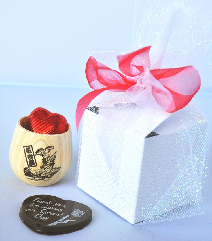 "Wedding Chocolates - foil wrapped hearts and ""Thank you for sharing our special day"""
