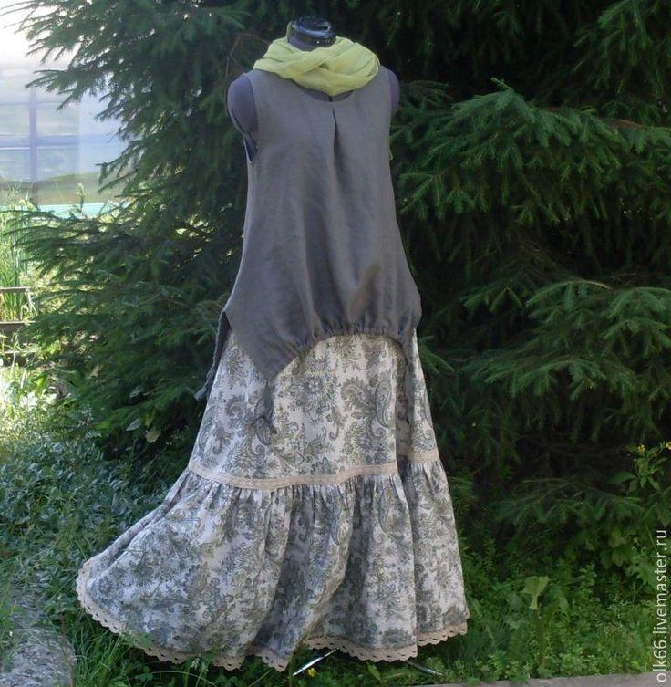 Купить Льняная летняя длинная юбка - длинная юбка, летняя юбка, юбка в пол, бохо