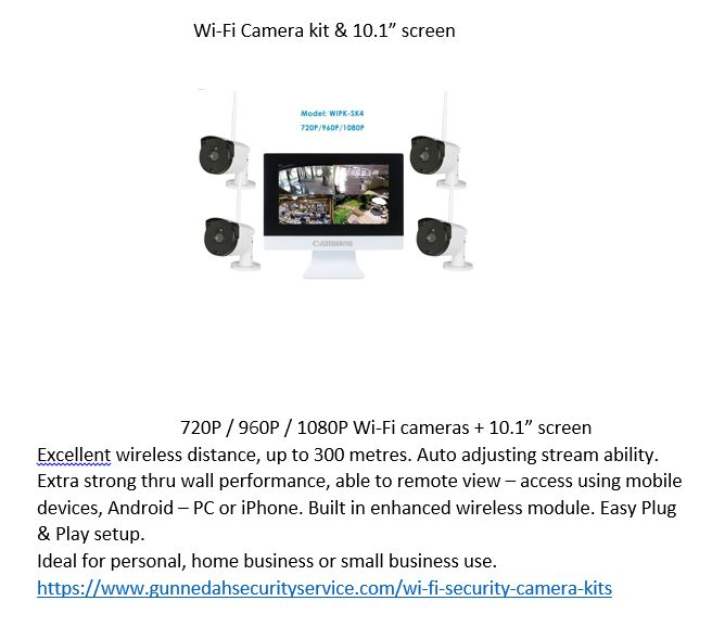 "X Wi-Fi Security cameras + 10.1""  screen. easy to install & setup, extra cameras available as well. perfect for the busy or security conscious individual or family to see what is happening, even when not there. Remote access using a mobile device capable."