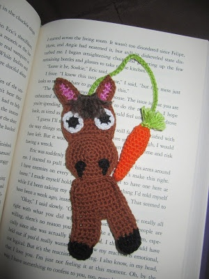 Crochet horse bookmark