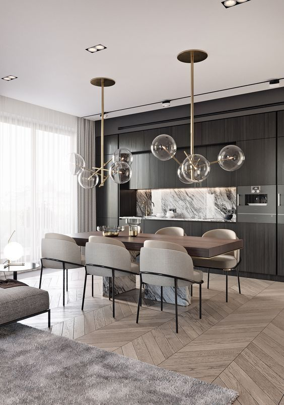 Salon Salle A Manger A La Decoration Moderne Et Design Suspension