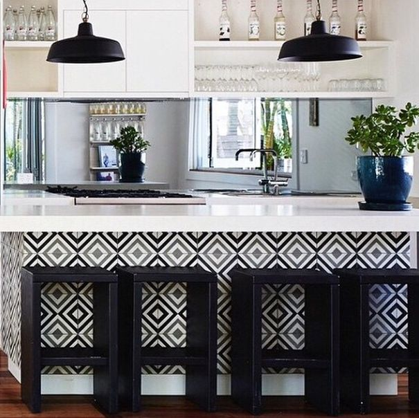 A pop of tile in the most unexpected place makes for a great room.