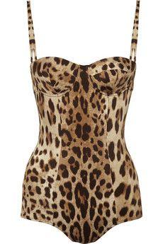DOLCE & GABBANA Leopard-print swimsuit, $680