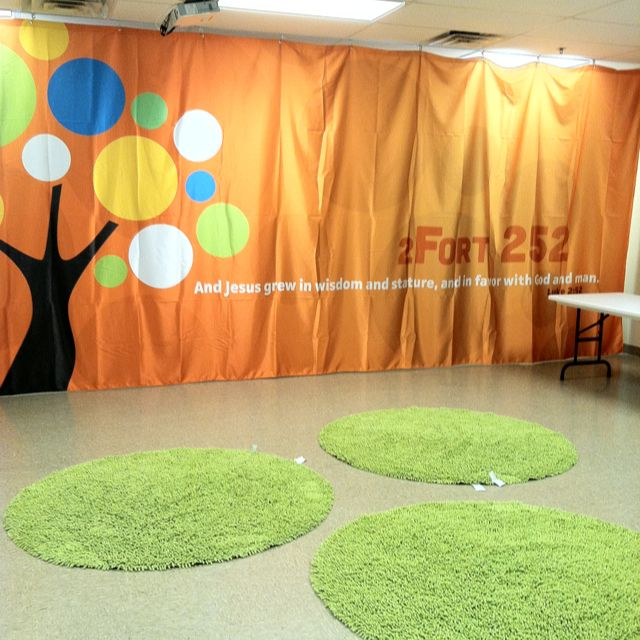 These circles of carpet are a neat way to break up a space.  Or use them for small group meeting areas.