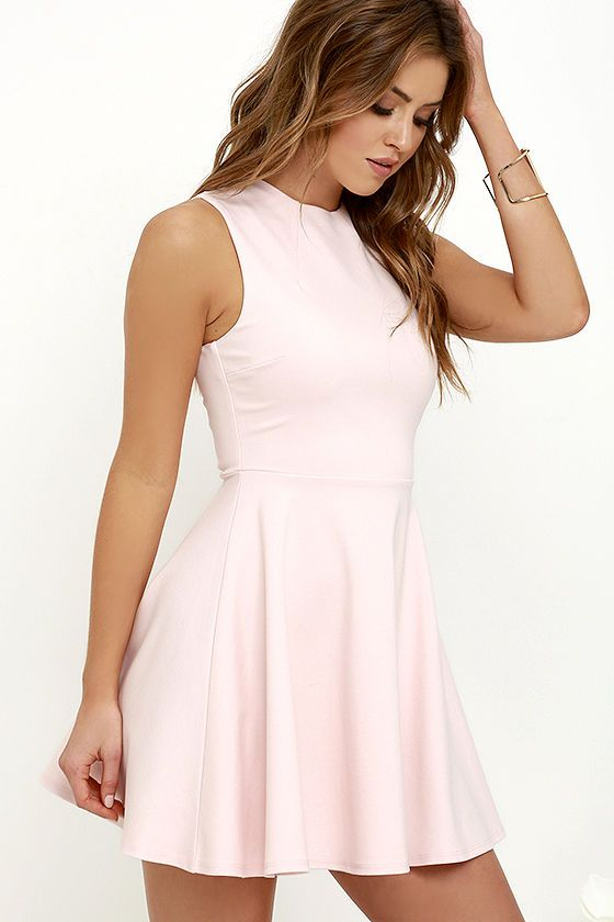Simply chic and cute as a button, the Fun-Loving Light Pink Skater Dress will take your dress game to a whole new level! Medium-weight stretch knit starts at a funnel neckline atop a sleeveless bodice with darting. Full skater skirt. Exposed gold back zipper.