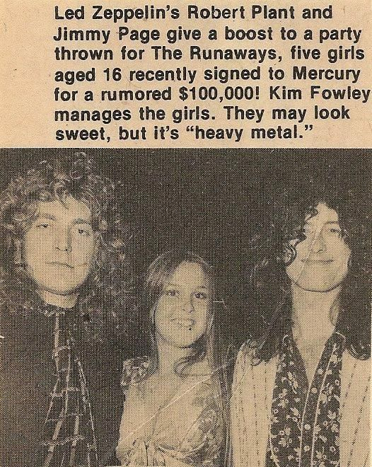 Robert Plant and Jimmy Page with a young Lita Ford of the Runaways, circa 1976