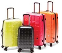 Camden Luggage in the four colours, Lime, Tangerine, Pink and Charcoal