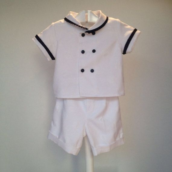 sailor baby outfit baby boy white outfit  toddler boy by pitufos