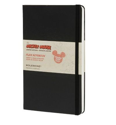 Moleskine's Limited Edition Collection meets Disney's best-loved character, Mickey Mouse. This large plain notebook features a black, hard cover with Mickey themed debossing and themed flyleaves. There are 240 plain ivory pages, a black ribbon bookmark and an expandable inner pocket for loose notes. It all secures shut with Moleskine's signature elastic enclosure. It even comes with a Mickey Mouse drawing guide!