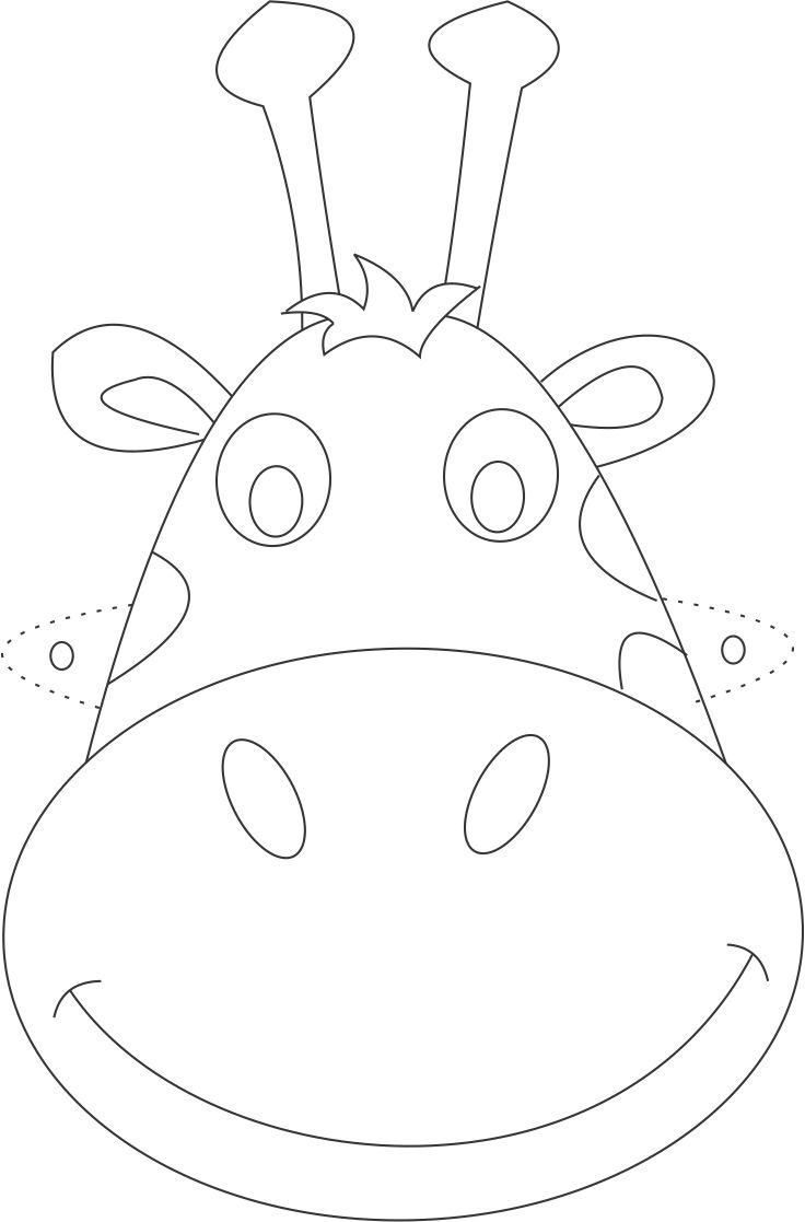 Giraffe mask printable coloring page for kids