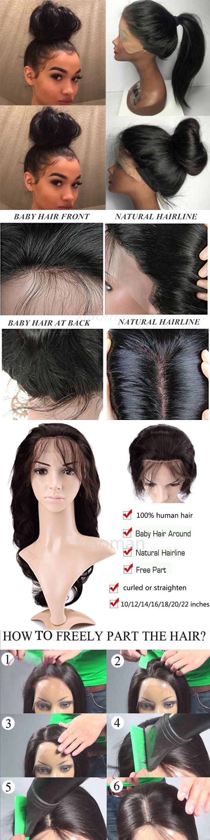 Wigs and Hairpieces: 100% Human Hair Lace Front Wig Straight Wavy Curly Full Lace Wigs Black Women Js BUY IT NOW ONLY: $120.9