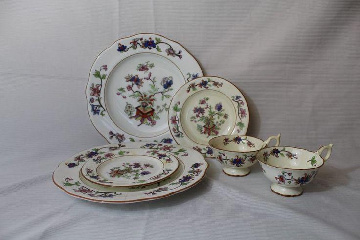 "Coalport English Bone China Dinner Set 6 Pieces ""Flower Pot"" Teacup Saucer Plate #Coalport"