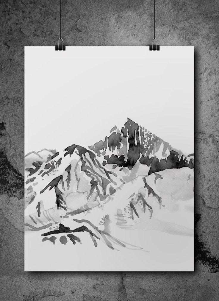 let's escape to the mountains  watercolour print