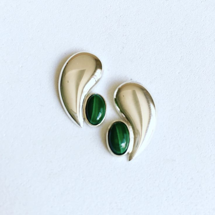 Earrings. Sterling silver, Malachite