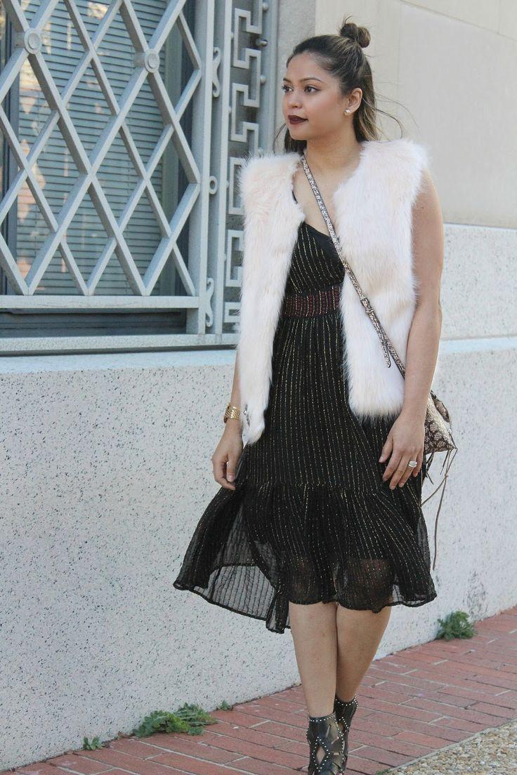 HOW TO WEAR FUR IN SPRING. fashion, black metallic dress, spring summer fashion