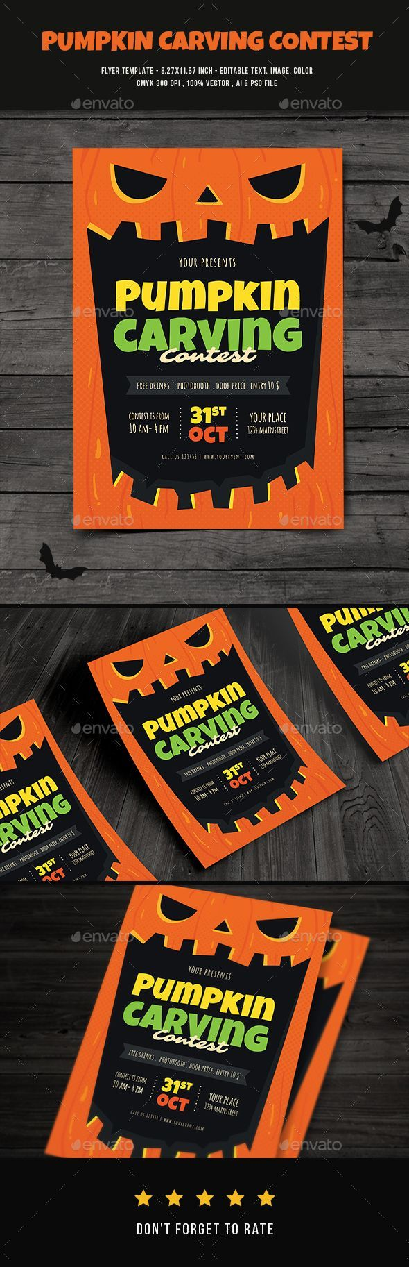 Pumpkin Carving Contest Flyer — Photoshop PSD #Pumpkin carving #halloween party • Available here → https://graphicriver.net/item/pumpkin-carving-contest-flyer/20669676?ref=pxcr