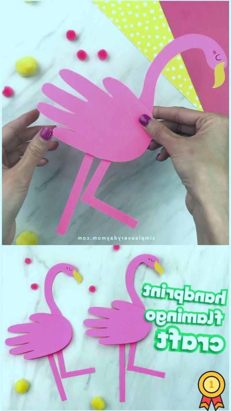 Handabdruck Flamingo Craft For Kids – #Craft #crafts #Flamingo #Handabdruck #Kids –