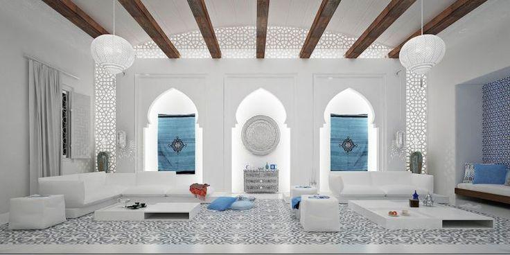 salon marocain moderne decoration-blanc-motif-moucharabieh