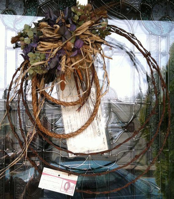 INSPIRATION: antique barbwire wreath by DawsonWreathBarn