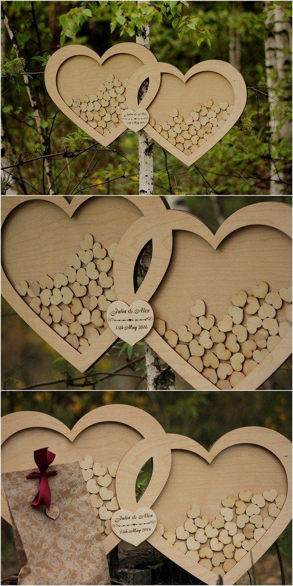 wooden heart wedding guest book / http://www.deerpearlflowers.com/rustic-country-wood-wedding-guest-books/