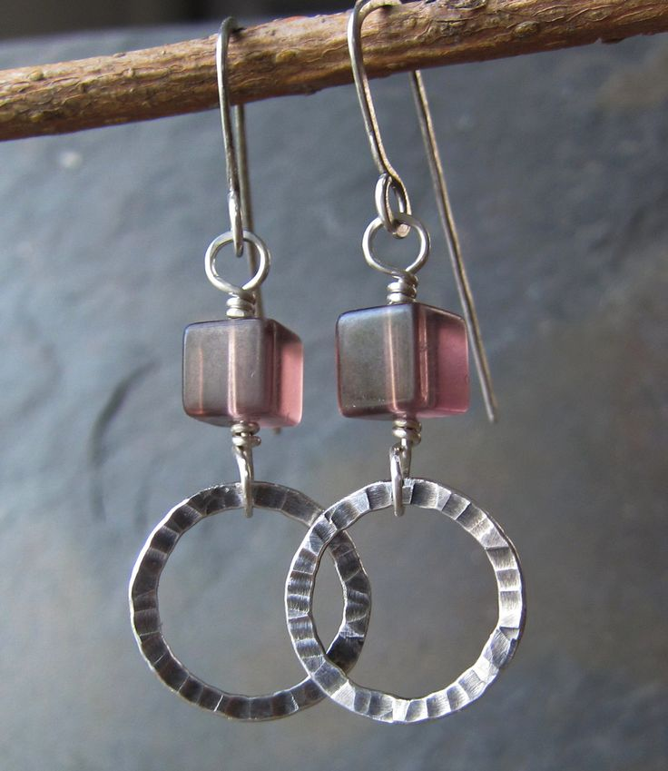 lavender fluorite silver earrings handmade by wildcarrotstudio 4000 - Earring Design Ideas