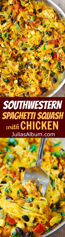 Southwestern Spaghetti Squash with Chicken - perfect Autumn dinner!  Healthy, gluten free recipe.