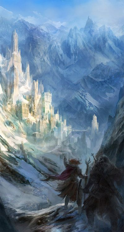 Running towards the palace in an icy land
