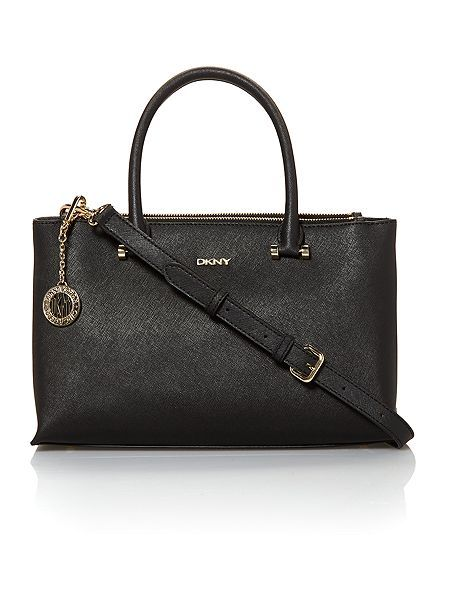 Saffiano black small double zip tote bag