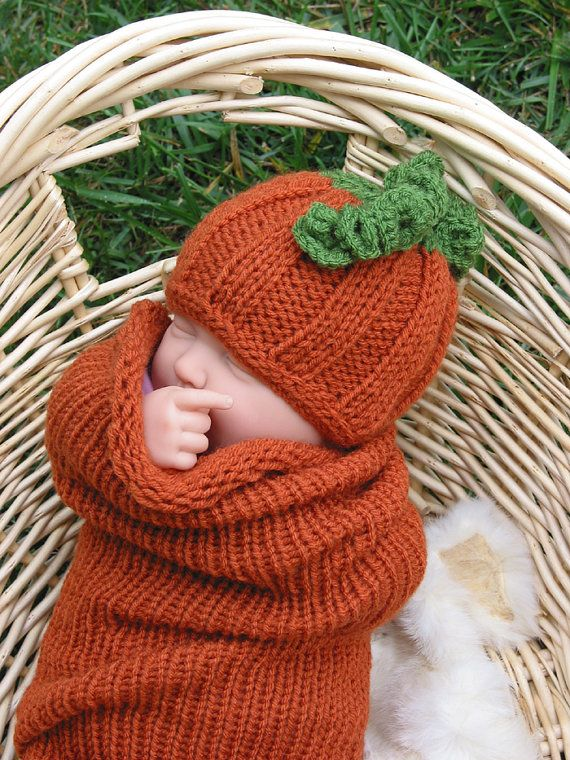 Pumpkin Hat and Cocoon, Newborn knit pumpkin photo Prop,Pumpkin set, Pumpkin cocoon, Thanksgiving, Pumpkin photo prop set. $38.00, via Etsy.