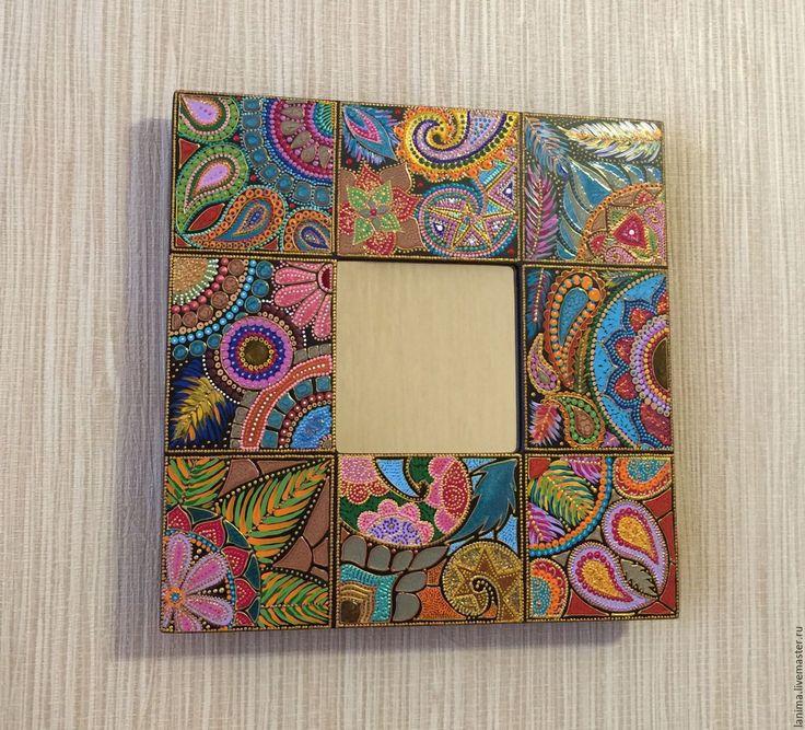 Купить Райский сад - разноцветный, зеркало, зеркало настенное, зеркало ручной работы, роспись акрилом
