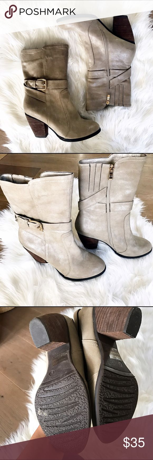 Cathy Jean beige boots size 9 Cathy Jean beige boots size 9.  Side zipper with faux buckle. Great with dress or pair with some skinny jeans. Only worn 2 times excellent Condition . Bundle and save. 👏🏻🌸🎈👍😉 Cathy Jean Shoes Heeled Boots