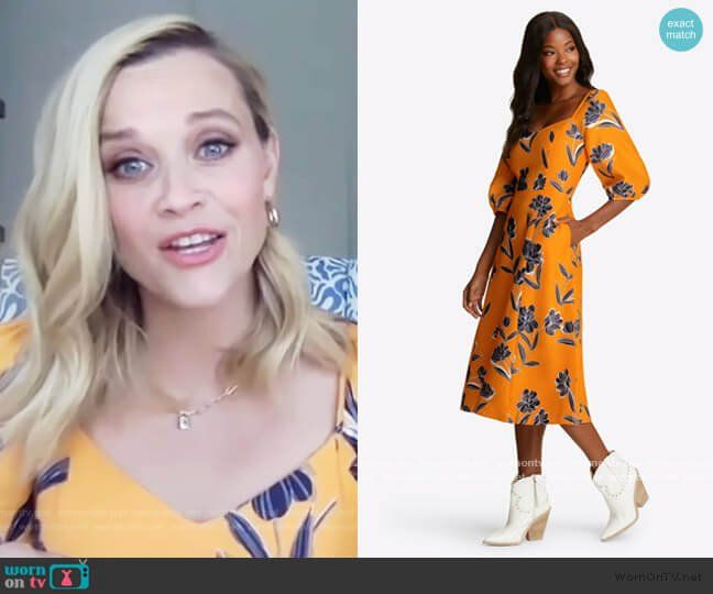 Reese Witherspoon S Orange Floral Dress On The Drew Barrymore Show June Dress Orange Floral Dress Floral Dress