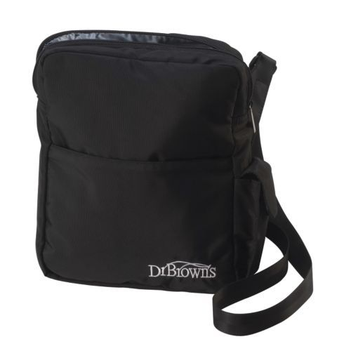Dr. Browns Baby Bottle Cooler Bag from One Step Ahead | Not all bottle bags can accommodate Dr. Brown's® bottles, but this surprisingly compact tote holds up to three (even Wide Necks)! Well insulated to keep bottles cool during outings, with a moisture-resistant lining for easy clean up. The adjustable stroller strap will also attach to strollers for easy carrying, while three outside pockets hold small essentials...
