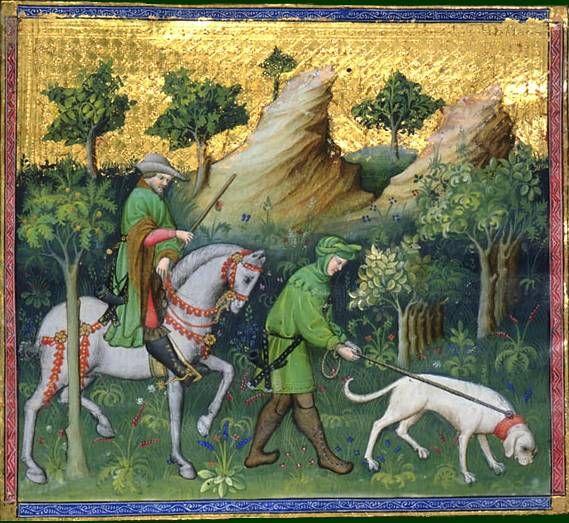 Le livre de chasse, folio 56v   comment on doit mener en quête son valet, pour lui apprendre a reconnaître le grand cerf par le pied