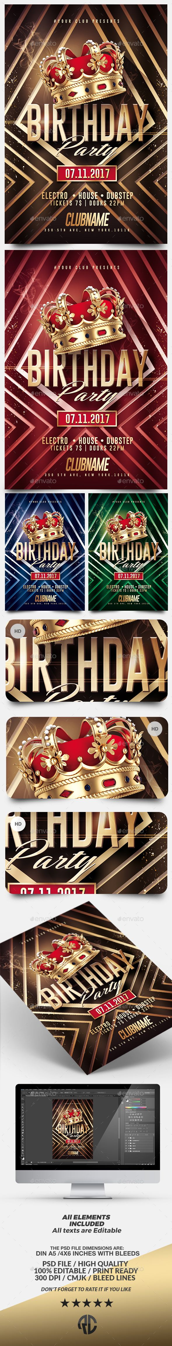 Gold Birthday | Kings Flyer Template — Photoshop PSD #nightclub #birthday • Available here → https://graphicriver.net/item/gold-birthday-kings-flyer-template/17651215?ref=pxcr