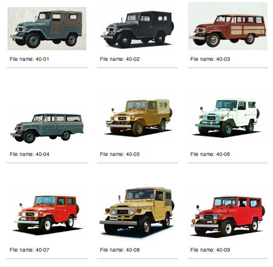 Landcruisers...my daddy had the bottom left one while I was growing up!! Great memories!!!