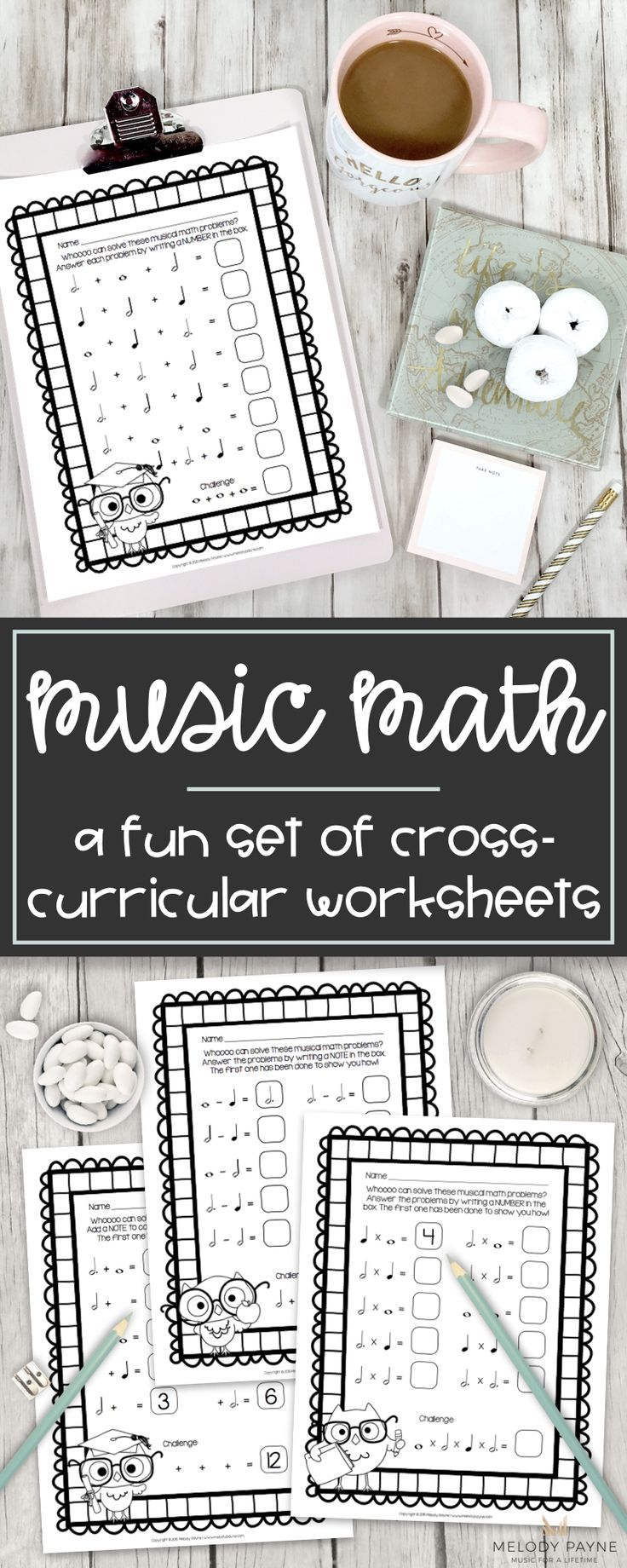 """These fun owl-themed printable cross-curricular activities take musical math to a whole new level! Addition, subtraction, multiplication, and fill-in-the-blank-with-a-number-or-note worksheets will make a """"positive"""" impact on your students, """"subtract"""" their doubt about note values, and """"multiply"""" their confidence! Musical math is a hoot! Perfect ideas for piano lessons, music class, group lessons, the sub tub, music centers, and much more!"""