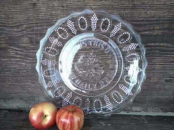 Vintage Clear Glass Daily Bread Prayer Plate  by happydayantiques