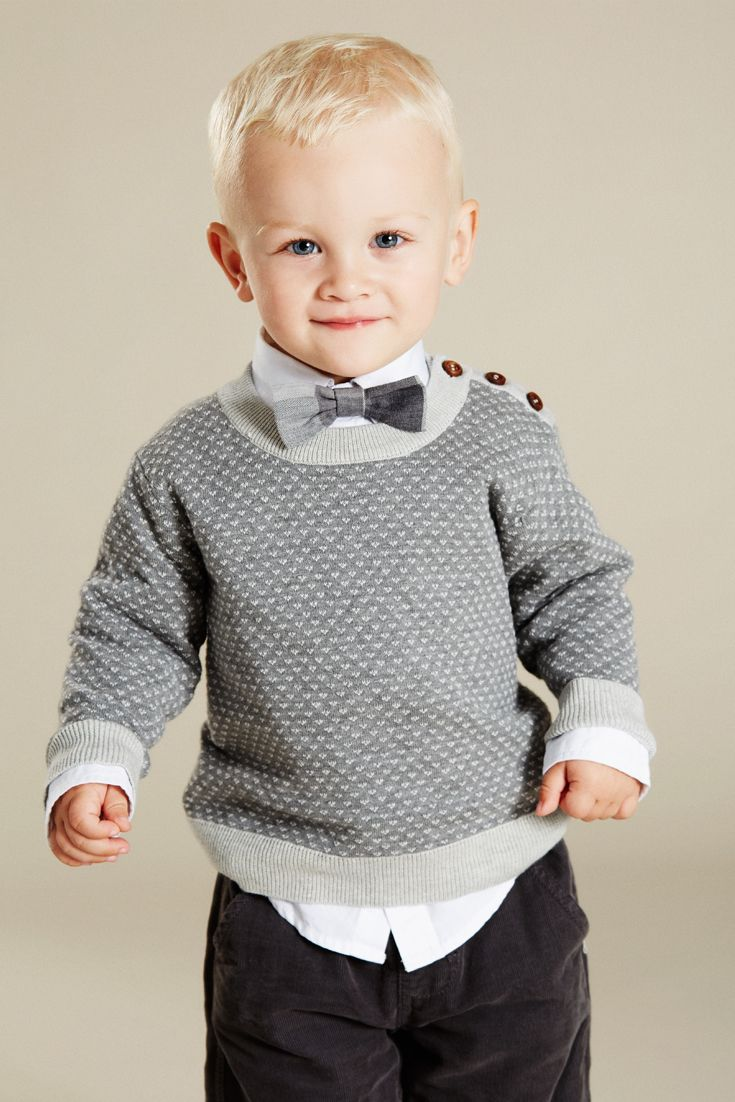 Hust&Claire Mini boy - Cotton sweater, white shirt, grey checkered butterfly and dark grey corduroy trousers.