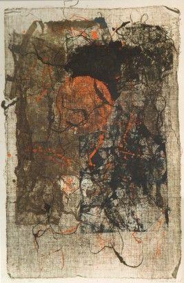 Radoslav Kratina / Červený terč / 1965 / monotyp, papír / 37,5 x 24,5 cm