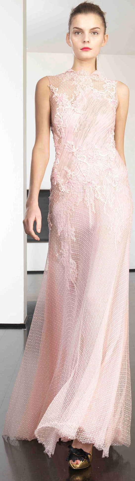 -Dany Atrache Couture. Beautiful designer evening gown in blush with both lace and netting!!!