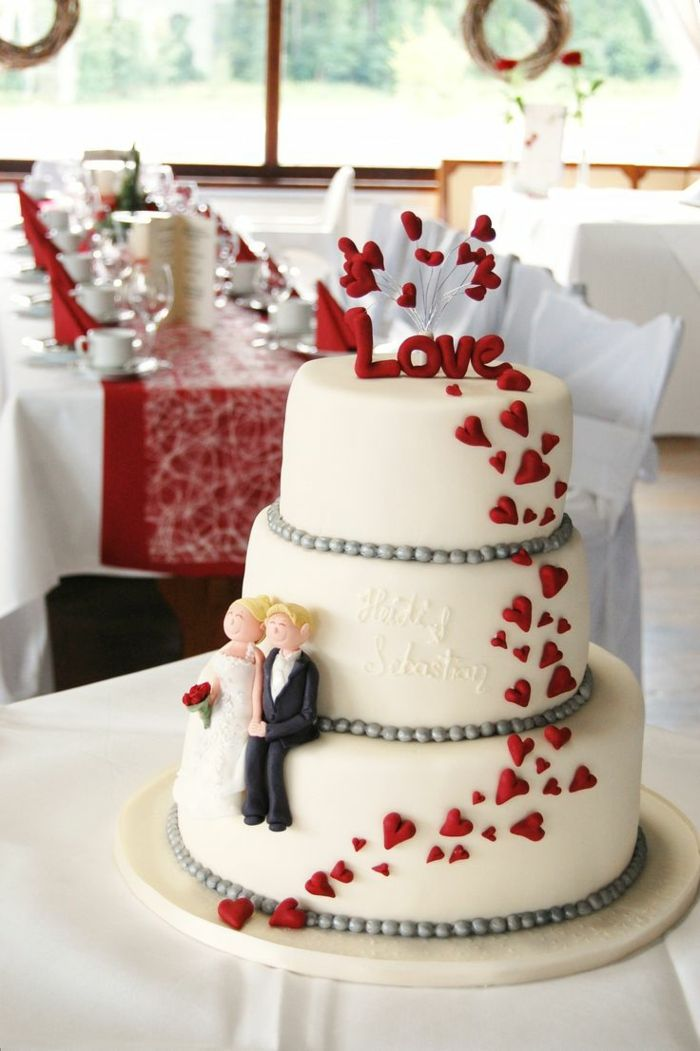 hochzeitstorte in rot wei  Hochzeit in 2019  Wedding cakes Heart wedding cakes und White