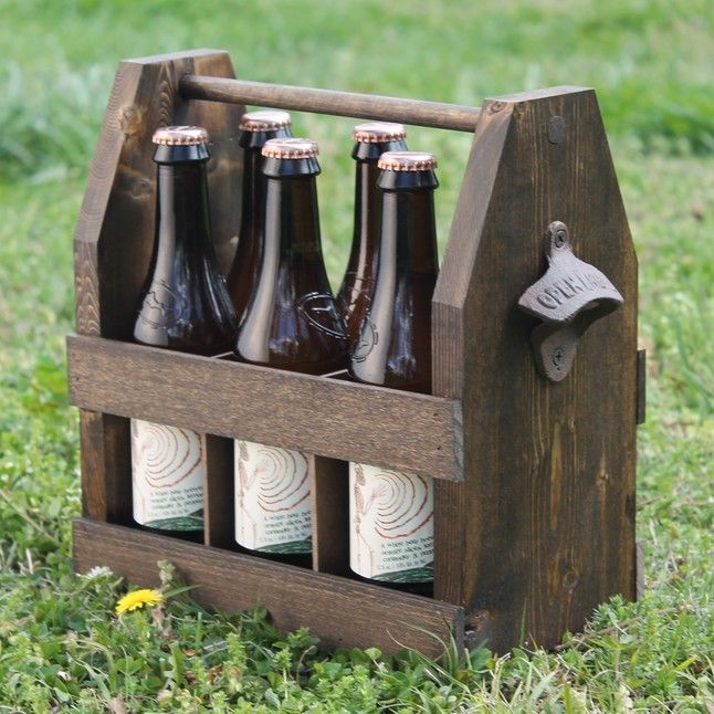 Wooden Six Pack Tote with Bottle Opener from Carpenter Koby Downs