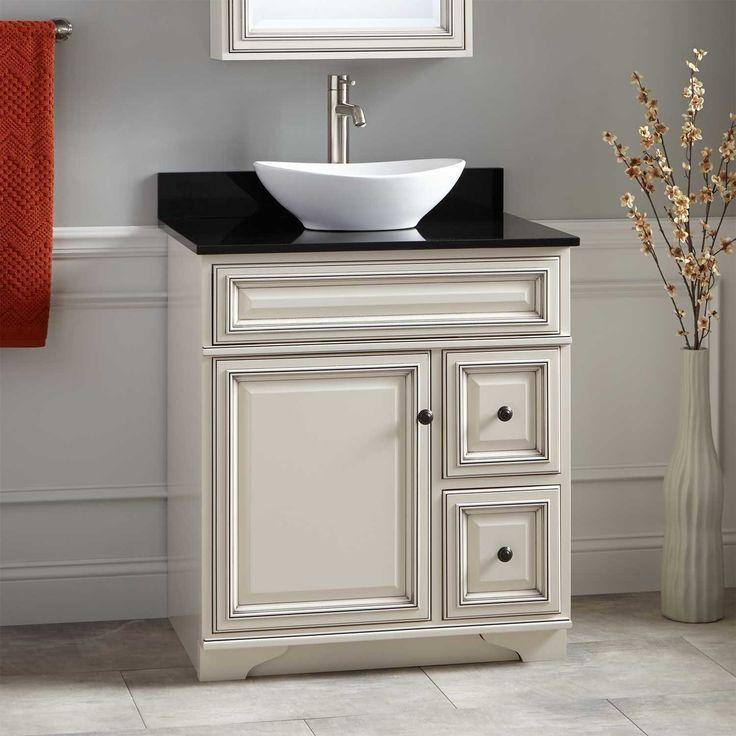 30 Misschon Vessel Sink Vanity  Antique White  Powder