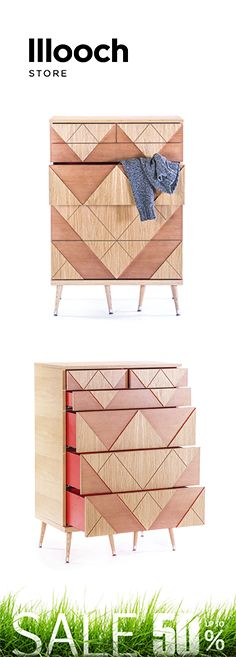 The BIG WOO chest of #drawers has six spacious drawers that open by a push mechanism. #chestofdrawers #interiordesign #wood