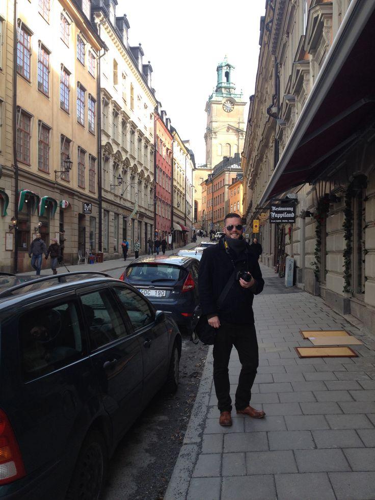 My handsome husband in #Stockholm Old City