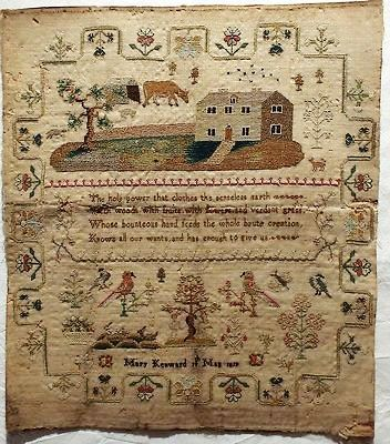 Early 19th cetury linen & silk adam & eve sampler by mary kenward 1819