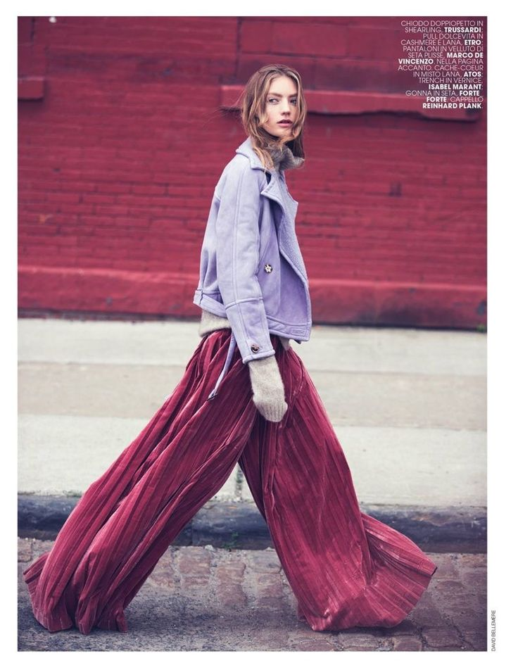 Model Susanne Knipper poses in autumn street styles for the fashion editorial